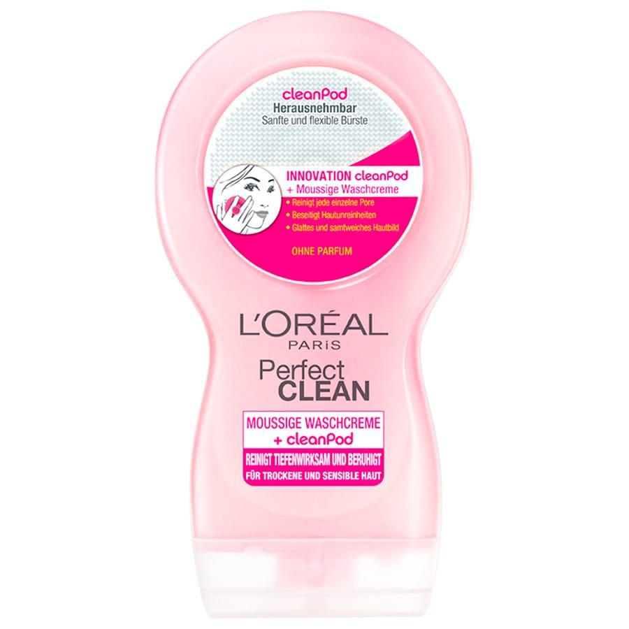 L'Oréal Paris Perfect Clean Moussige Waschcreme für sensible Haut mit CleanPad