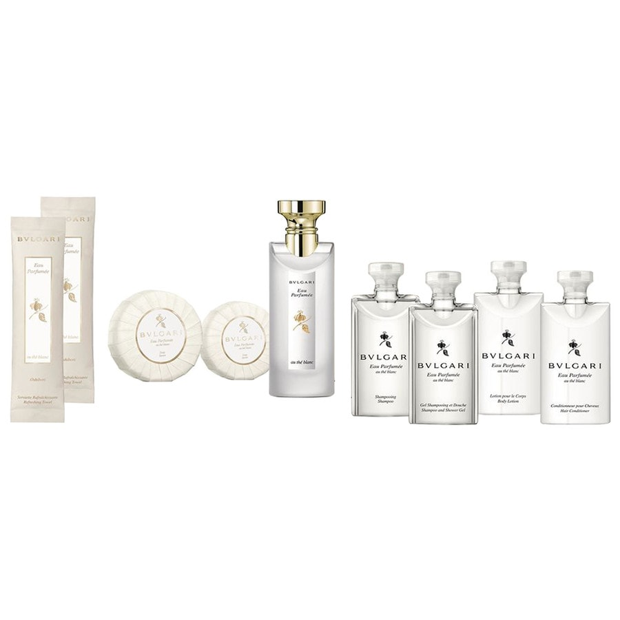 Bvlgari Unisexdüfte Eau Parfumée au Thé Blanc Guest Set Eau de Cologne Spray 75 ml + Refreshing Towels 2 x 12 g + Shampoo & Shower Gel 75 ml + Hair Conditioner 75 ml + Body Lotion 75 ml + Soap 50 g + Soap 75 g + Shampoo 75 ml 1 Stk.