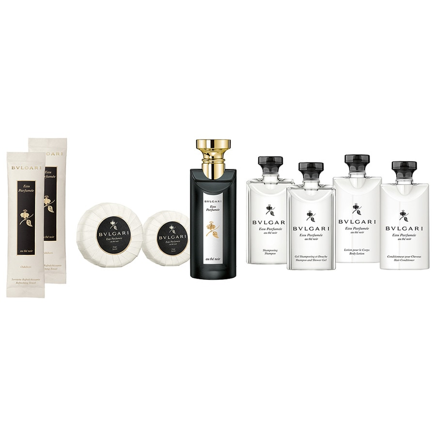 Bvlgari Unisexdüfte Eau Parfumée au Thé Noir Guest Set Eau de Cologne Spray 75 ml + Shampoo & Shower Gel 75 ml + Shampoo 75 ml + Hair Conditioner 75 ml + Body Lotion 75 ml + Seife 50 g + Seife 75 g + Refreshing Towels 2 x 12 g 1 Stk.