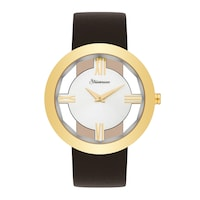Strassmann Armband-Uhr STRASS 800 gelbgold Echtleder braun Uhr 1.0 st - 4251338174345