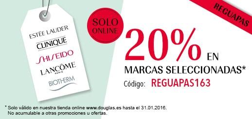 20% en marcas Estee Lauder, Shiseido, Biotherm, Lancome, Clinique